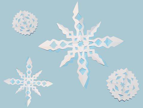 Flocons en papier : modèles pour un bricolage découpage d'hiver pour les enfants