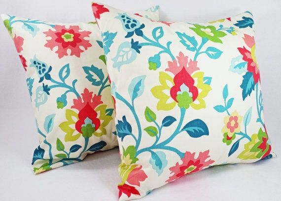 Floral Decorative Pillow Covers  2 Coral Teal by CastawayCoveDecor, $32.00