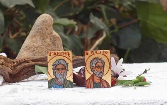 Apostles Saint Andrew and St Simon Peter hand painted by angelicon
