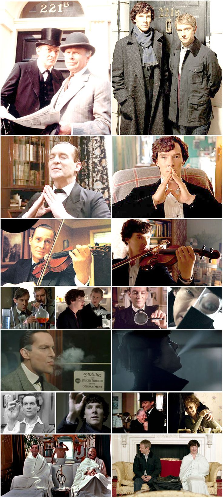 The old and the new. My two favorite Sherlocks: Jeremy Brett & Benedict Cumberbatch. (This is a re-pin, but this one has better resolution. And, I never get tired of looking at it! -G.H.)