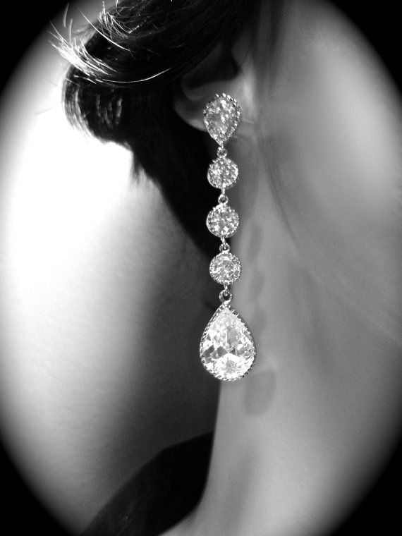 Long Cubic Zirconia earrings // Clear // by QueenMeJewelryLLC, $59.99