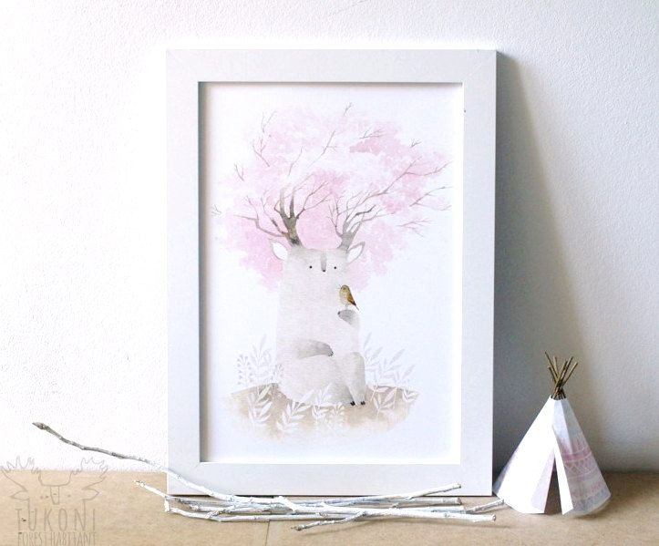 Sakura spirit Digital print Art poster Watercolor painting