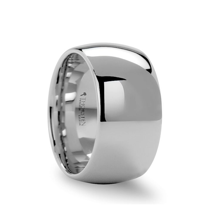 Wide Tungsten Wedding Bands | ATHERTON 12mm Domed Wide White Tungsten Wedding Band for Men