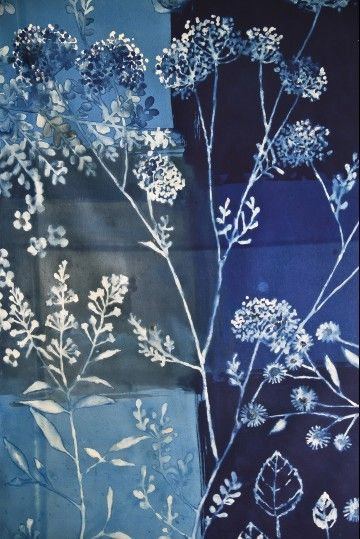 Luli Sanchez: textile design - nature - cyanotype block blues
