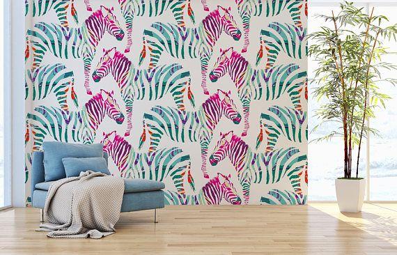 Removable Wallpaper Zebra Wallpaper Self Adhesive Wallpaper Wall Mural Removable Wallpaper Self Adhesive Wallpaper 90 Room Wallpaper Designs Pink And Grey Wallpaper Wallpaper Designs For Walls