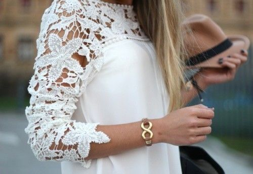 Bringing lace into Fall clothing can help keep it more bright and romantic and keep summer style incorporated into your wardrobe even longer. - LS