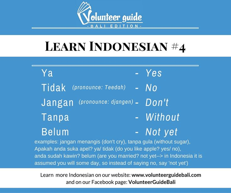 Learn Basic Indonesian language skills with our 40 + language videos!   Here is a free lesson: How to say Yes and No in Indonesian...handy basics :) Find more language tips on our YouTube channel and Facebook page @volunteerguidebali..www.volunteerguidebali.com