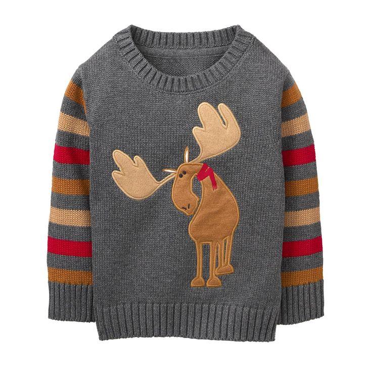 Toddler Boy Slate Grey Moose Sweater by Gymboree