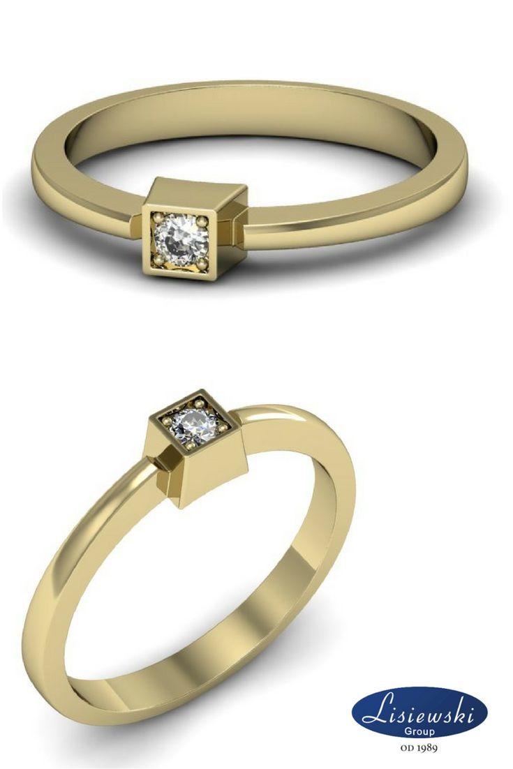 Pierścionek zaręczynowy z żółtego złota z diamentem || Yellow gold engagement ring with diamond #engagementring