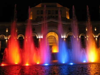 Musical fountains in front of the History Museum. Republic Square, Yerevan, Armenia.