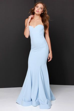 "Amp up your ""curve"" appeal at that upcoming gala with the Sorella Light Blue Strapless Maxi Dress! A strapless sweetheart bodice has a stunning fitted shape thanks to a hidden V-bar at front, boning and elastic at back, and princess seams. The woven material makes its way down into the maxi skirt finished with flaring godets, and hidden bottom band for added structure. Hidden back zipper with clasp. Fully lined. Self: 100% Polyester. Lining 1: 100% Polyester. Lining 2: 97% Cotton, 3% ..."