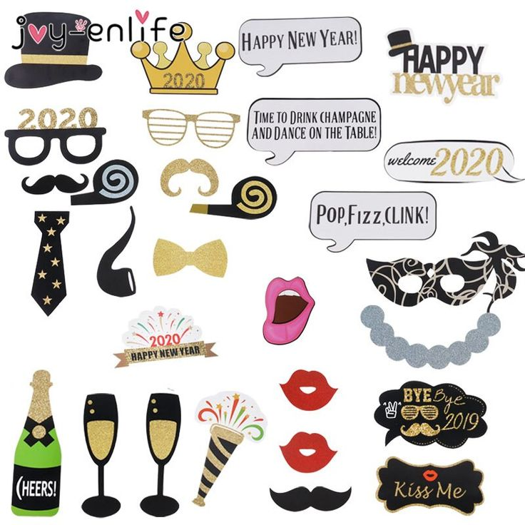 Happy New Year 2020 Photo Booth Props Eve Party Decoration