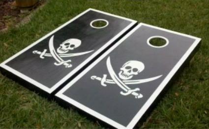 Custom Cornhole Boards / Skull design by BKCustomCreations on Etsy
