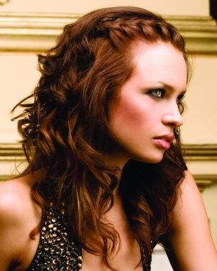 A long brown wavy plaited plaits hairstyle by Maurice Meade