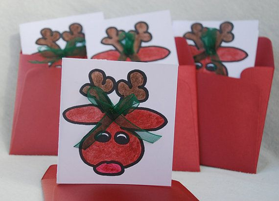 Pack of Four Small Reindeer Cards Handmade by JemLouProductions, $4.00