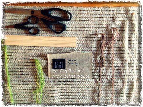 """Ein neuer Ryijy wächst heran: Design """"Stamm"""" von Taina Otsamo. Näh ihn selbst, das Näh-Set findest Du bei uns im Shop."""