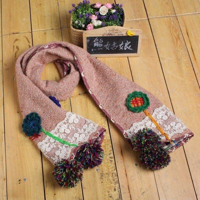 2015 yeni mori kız moda ve trend Japon styleSheep yün örme dantel handembroldered bir büyük küre hemming eşarp(China (Mainland))
