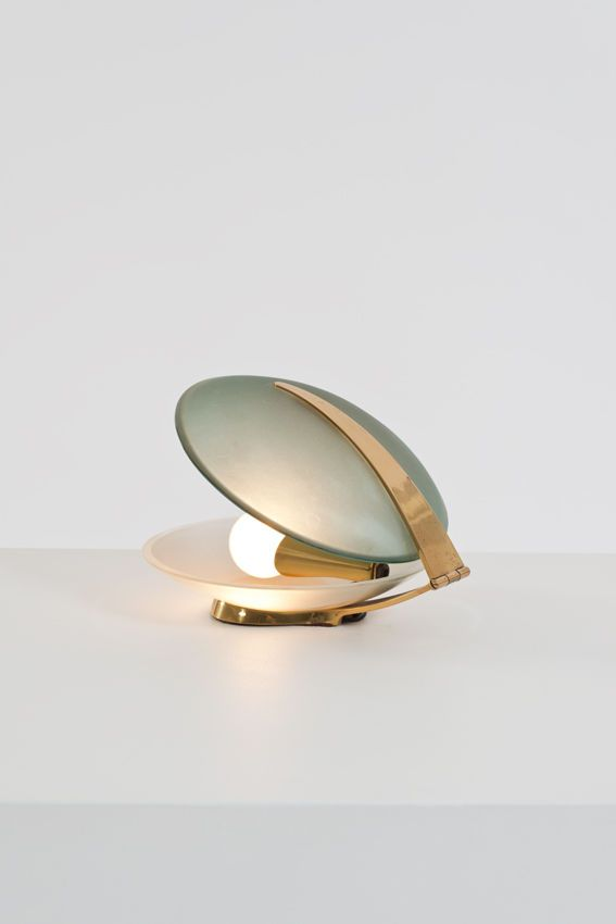 Max Ingrand; Glass and Brass Table Lamp for Fontana Arte, 1960.