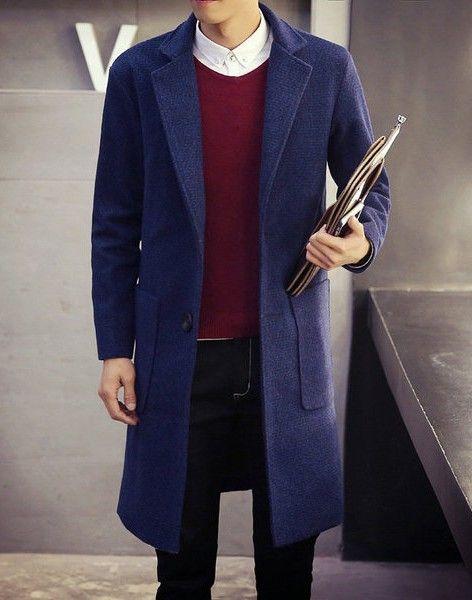 Мужское пальто синее прямое с накладными карманами в интернет-магазине Шопоголик