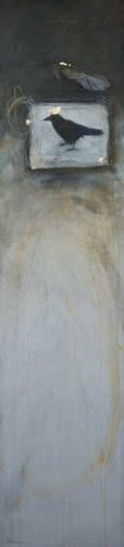 "Nikol Haskova CERNA KRALOVNA (BLACK QUEEN) / Canada House Gallery - acrylic, birch panel 48"" x 12"""