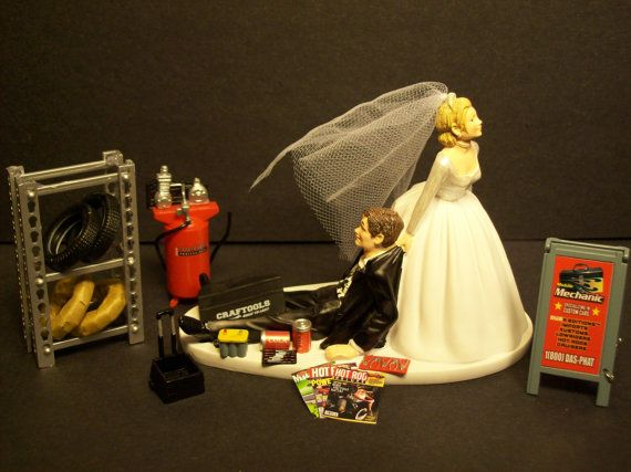AUTO MECHANIC Tire with Stand and sign Wedding Cake Topper Tools Funny