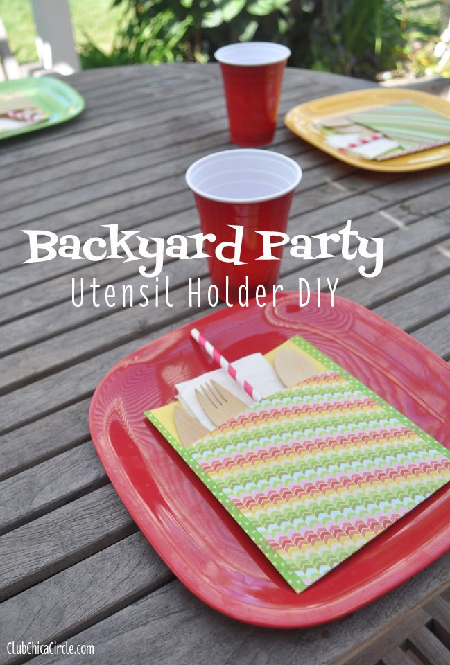 Decorative picnic backyard party utensil holder craft idea
