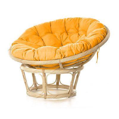 Poltrona rattan con cuscino arancione Ø115cm arredamento esterno giardino 06551