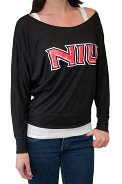 Northern Illinois University off-shoulder, long sleeved tee