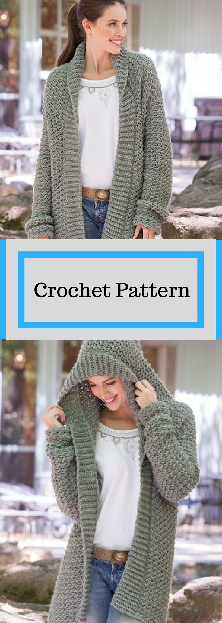 Weekend Casual Hooded Sweater Crochet Pattern Available for Electronic Download #ad