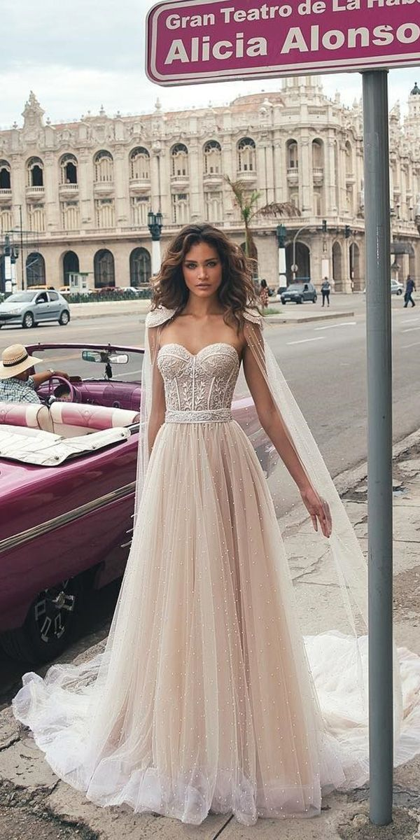 Hottest 21 Wedding Dresses Fall 2018 ❤ a line blush wedding dresses with lace princess capes julie vino fall 2018 bridal collection ❤ See more: http://www.weddingforward.com/wedding-dresses-fall-2018/ #wedding #bride #bridalgowns