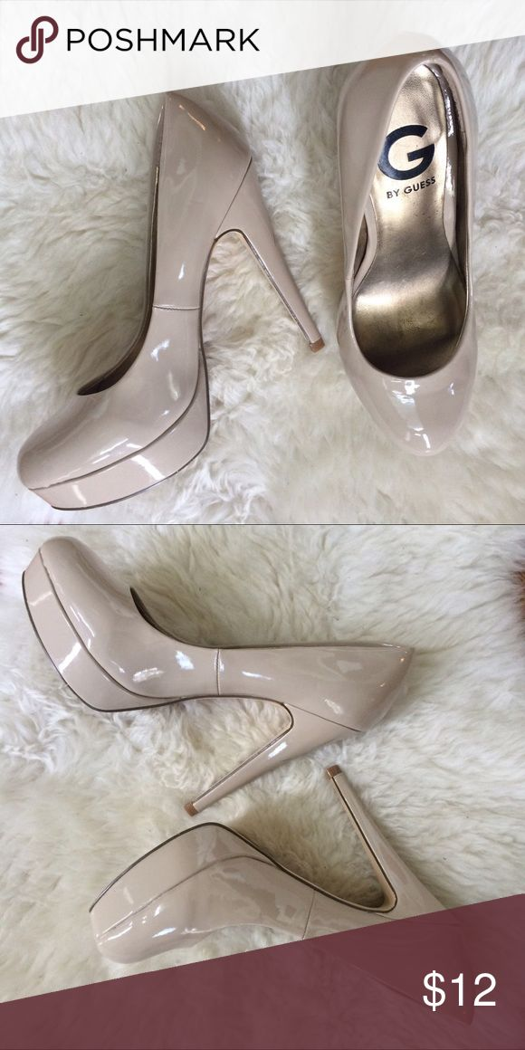 """G by Guess"" nude platform heels. Nude platform heels. Minor scuffing, barely noticeable and regular wear on the bottoms of the shoe. Perfect for a formal, dance, or prom! G by Guess Shoes Heels"