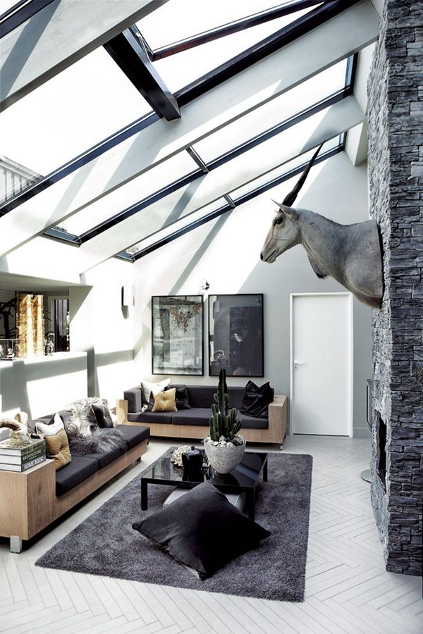 Sky lights and tall ceilings; always a winnerLiving Rooms, Living Spaces, Big Windows, Livingroom, Animal Head, Interiors Design, Black White, Sky Lights, Danishes