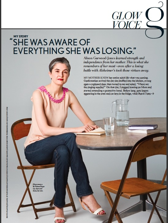 Hey all,  If you happen to be passing by a newsstand and want to pick up a magazine the old fashioned way, please check out the back pages of Glow Magazine — May issue — on newsstands til mid May.  I turned a blog post on my much loved mother into a profile. My thanks to Juliette Baxter, Michael White, Frances Juriansz and Jackie Shawn. I'll repost on my blog once it's off newsstands.