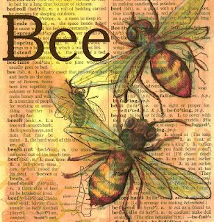 Mixed Media Bee Drawing on Distressed, Dictionary Page