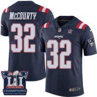 Men's New England Patriots #32 Devin McCourty Navy Blue Super Bowl LI Champions Nen Elite Jersey