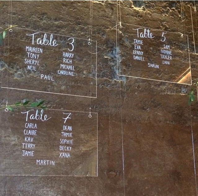 Perspex table plan for N&C at Elmore Court