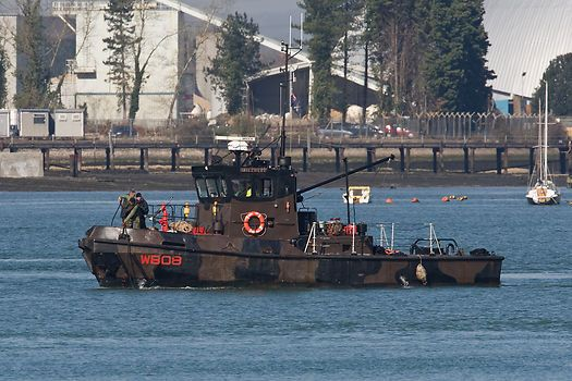 The British Army tug 'Mill Reef' operating off Marchwood