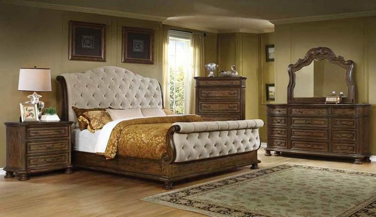 McFerran Home Furnishings - B1200 5 Piece California King Bedroom Set in Pecan - B1200-CK-5SET
