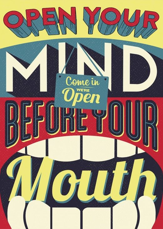 Open your mind before your mouth #poster #plakat #retro