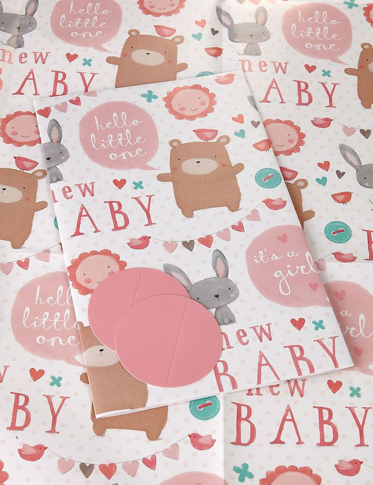 2 Cute Animals New Baby Sheet Wrapping Paper | M&S