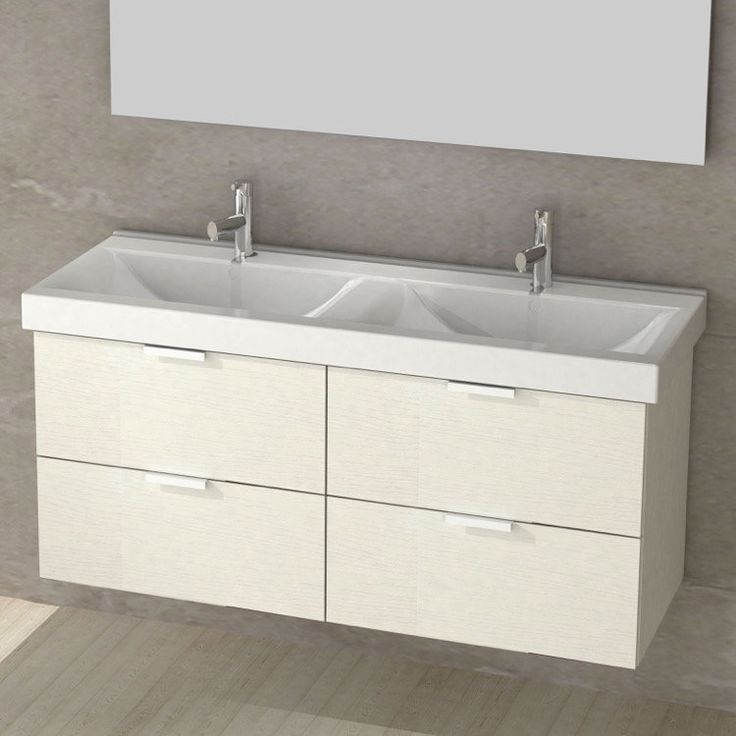 bathroom cabinet online design tool%0A Double Bathroom Vanity  Two matching ceramic sinks top the minimalist  contemporary design of the Nameeks Arcom Double Fun ARCOM DF    in