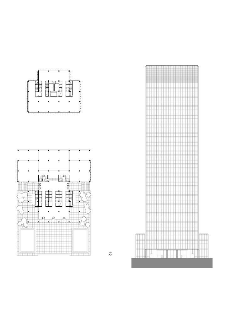 Mies van der Rohe (with Philip Johnson); Seagram Building, plan of a typical floor, elevation, New York, 1954-58