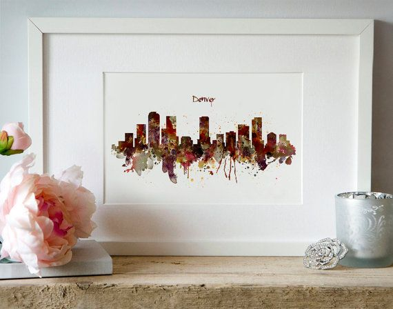 Denver Skyline Silhouette Watercolor painting Wall by Artsyndrome