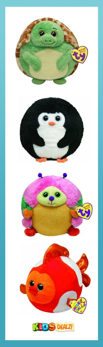 "TY BEANIE BALLZ Turtle, Avalanche Penguin, Orange Fish, & Caterpillar - all in LARGE sizes! Measuring 5"", these cute, furry ""critters"" are so much to play with. Throw'em!, Pow!, Bam!, Slam'em! They always land on their feet!"