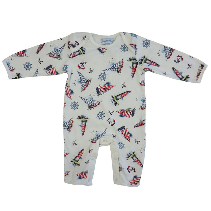 Cotton jersey jumpsuit in our nautical print featuring yachts and lighthouses. 100% cotton