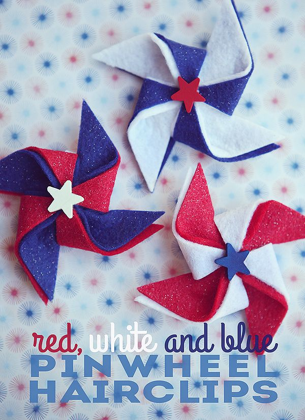 red, white and blue. one of my most favorite color combos. It's always fun to be festive on the 4th of July. So we made some pinwheel hairclips for the girls to wear that day.  You'll need: • red, white and blue felt sheets (these even came with glitter on them) • small wood …