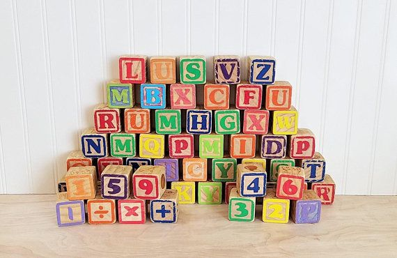 Vintage Large Wood Alphabet Blocks Lot Of 57 Wooden Blocks Large Le