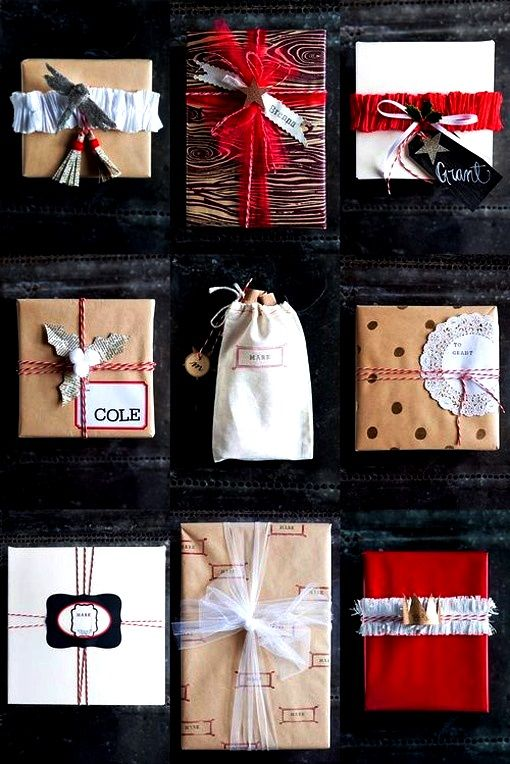 Christmas gift wrapping ideas DIY crafts ToniK ⓦⓡⓐⓟ ⓘⓣ ⓤⓟ  Natural black white red birchandbird.com