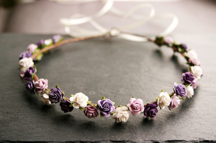 Blütenkranz mit Rosen in flieder - lila - weiss von Klara Kleingeld auf DaWanda.com