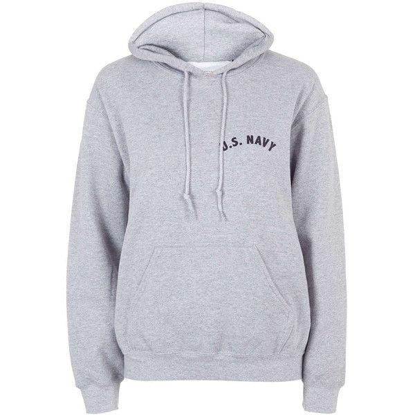 Us Navy Hoodie by Tee and Cake (€45) ❤ liked on Polyvore featuring tops, hoodies, jumpers, grey, hooded sweatshirt, hooded pullover, navy hoodie, gray hoodies and navy hoodies
